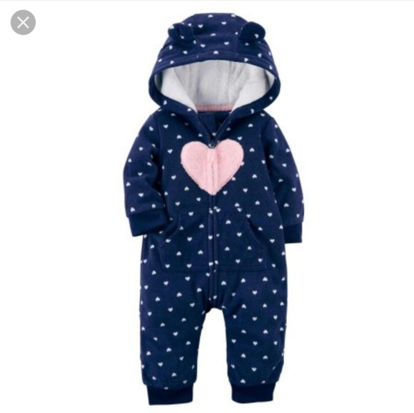 3b1a706413f Carter s Other - Carters heart print hooded jumpsuit 🌼 Size ...